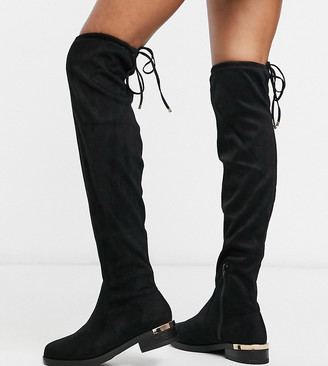 New Look Wide Fit over the knee suedette flat boots in black