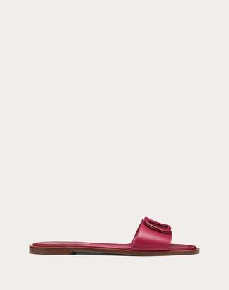 Valentino Garavani Vlogo Flat Calfskin Slide Sandal Women Raspberry Pink Calfskin 100% 35.5