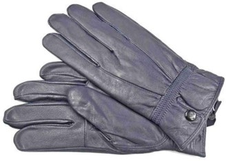 """Lorenz LADIES QUALITY SOFT NAVY LEATHER GLOVES WITH PRESTUD FASTENING (Large - 7.5"""")"""