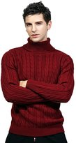 Insun Men's Solid Color Turtleneck Warm Pullover Sweater Burgundy