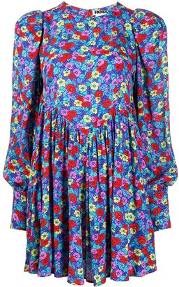 Rotate by Birger Christensen Puffed Sleeves Floral Print Dress