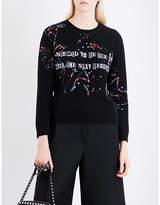 Valentino Ladies Embellished Bead-Embellished Wool And Cashmere-Blend Sweatshirt