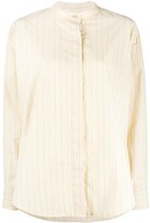 Isabel Marant Satchell striped band-collar shirt