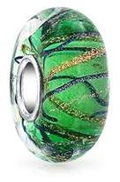 Bling Jewelry Green Stripped Wavy Simulated Emerald Murano Glass Lampwork Bead Charm .925 Sterling Silver.