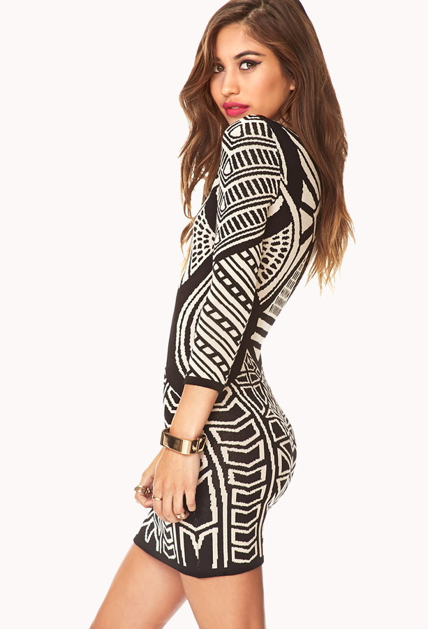 Forever 21 Striking Abstract Bodycon Dress