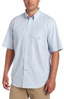 Nautica Men's Short Sleeve Poplin Mini Plaids Woven