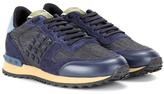 Valentino Rockrunner Denim, Leather And Suede Sneakers