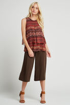 BCBGeneration Tiered Pleated Tapestry Print Tank - Coffee Bean