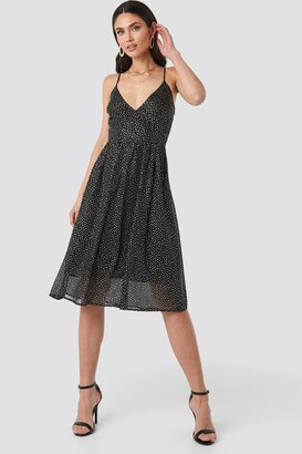 NA-KD Thin Strap Dotted Chiffon Dress Black