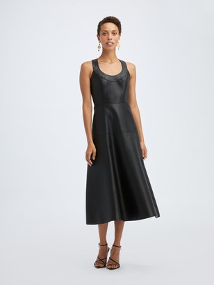Oscar de la Renta Leather Sleeveless Maxi Dress