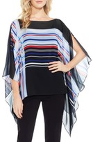 Vince Camuto Petite Women's Linear Graphic Panel Chiffon Poncho