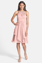 Eliza J Embellished Neck Layered Chiffon Fit & Flare Dress