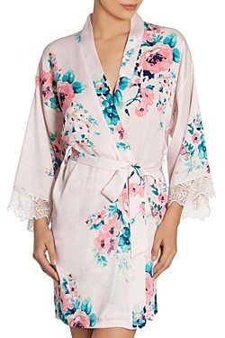 Jonquil Satin Floral Print Wrap Robe