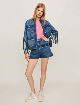 Maje Denim jacket with fringe