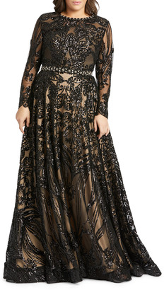 Mac Duggal Plus Size Sequin Long-Sleeve Novelty Burnout Gown