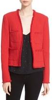 L'Agence Women's Fringe Trim Cotton Blend Jacket