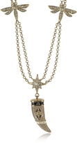 Roberto Cavalli Gold-tone Double Chain Long Necklace w/Enamel and Crystals Horn