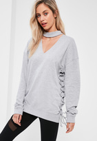 Missguided Grey Choker Neck Lace Up Side Detail Sweatshirt