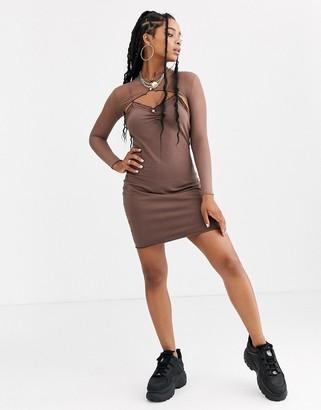 Zya ZYA mini dress with long sleeve mesh layer