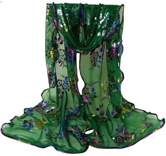Topbeauty Beauty Top Women Scarf Fashion Casual Elegant Lovely Colorful Flower Printing Lace Scarf Long Soft Wrap Shawl Stole Pashmina Silk Scarves Sheer Wrap Shawl Scarf Wrap (Green)