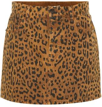 Saint Laurent Leopard denim miniskirt