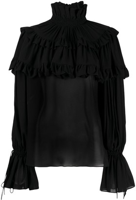 Saint Laurent Tiered Ruffle Blouse