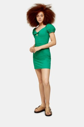 Glamorous Womens **Green Tie Front Prairie Dress By Green