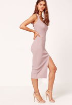 Missguided Pink Cross Strap Rib Midi Dress