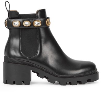 Gucci 75 embellished leather Chelsea boots