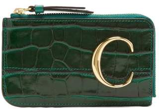 Chloé The C Logo Leather Card And Coin Purse - Womens - Green