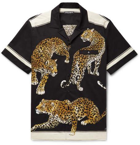 Dolce & Gabbana Camp-Collar Printed Stretch-Cotton Shirt
