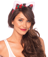 Leg Avenue Christmas Kitty Ear & Holly Berry Bow Headband