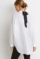 Forever 21 Contemporary Ribbon-Back Striped Shirt