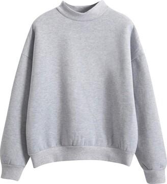 Soonerquicker Hoodies for Teens Girls Plus Size Tops Long Sleeve Tops Women Pullover T Shirt Crew Neck Plain Sweatshirt Casual Grey