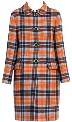 Miu Miu Stretch-Virgin Wool Check Coat