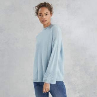 The White Company Cashmere Wide-Sleeve Jumper, Blue, Extra Small