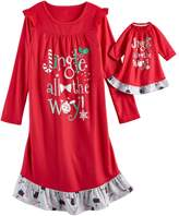 """SO Girls 4-14 SO® Christmas """"Jingle all the Way"""" Nightgown & Doll Gown Pajama Set"""