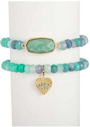Eye Candy Los Angeles Agate Amazonite Stretch Beaded Bracelet - 2-Piece Set