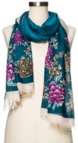 Merona Women's Turquoise Floral Fashion Scarf