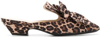 Les Chaussons De La Belle Leopard Print Bow Mules