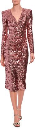 Dolce & Gabbana Long-Sleeve Sequined V-Neck Cocktail Dress