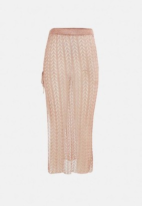 Missguided Co Ord Metallic Chain Knitted Maxi Skirt