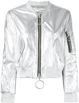 Off-White zipped jacket - women - Lamb Skin/Viscose - S