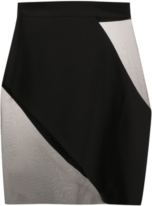 Loulou Sheer Contrast Mini Skirt