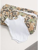 Burberry Beasts Print Cotton Two-piece Baby Gift Set , Size: 3M, White