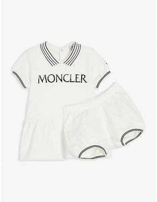 Moncler Logo cotton-blend shirt dress 3-36 months