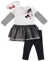 Petit Lem Baby Girls Little Rock Star Dress, Leggings and Headband Set
