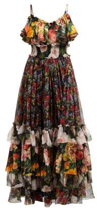 Dolce & Gabbana Floral-print Tiered Silk-chiffon Gown - Womens - Black Multi