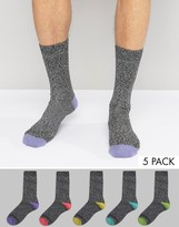 Asos Boot Socks With Pastel Contrast Heel and Toes 5 Pack