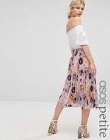 Asos Floral Printed Pleated Midi Skirt